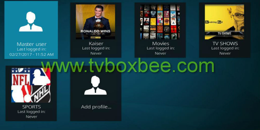 Create Multiple profiles on Kodi 17