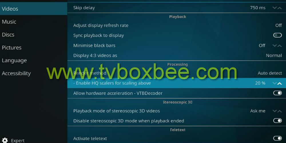 eliminate buffering on Kodi 17.1