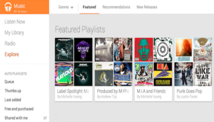 Google Play Music User interface