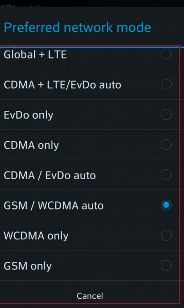 change your preferred network connection, change network mode