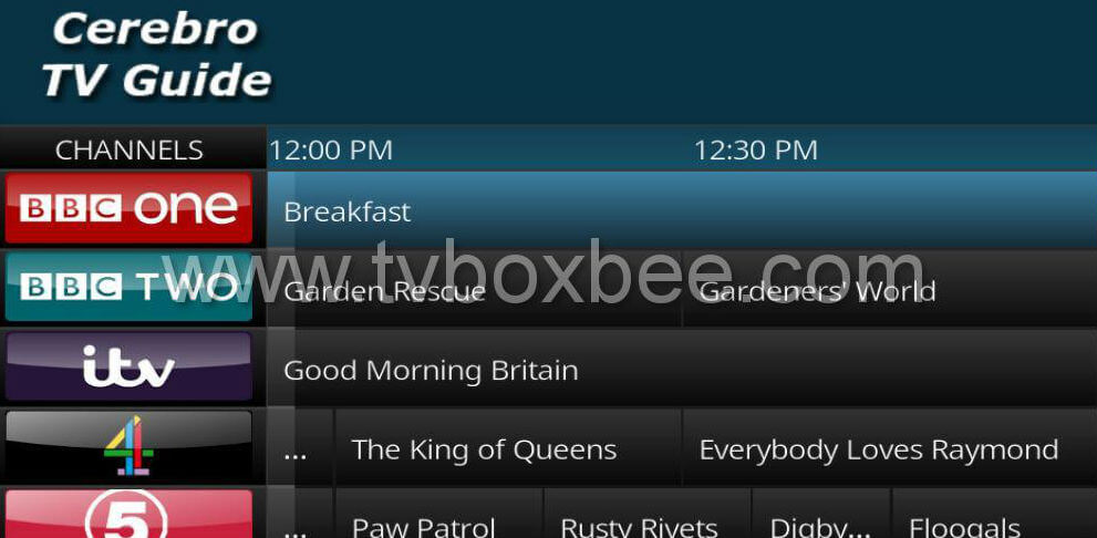 Cerebro TV Guide UK Addon for Kodi