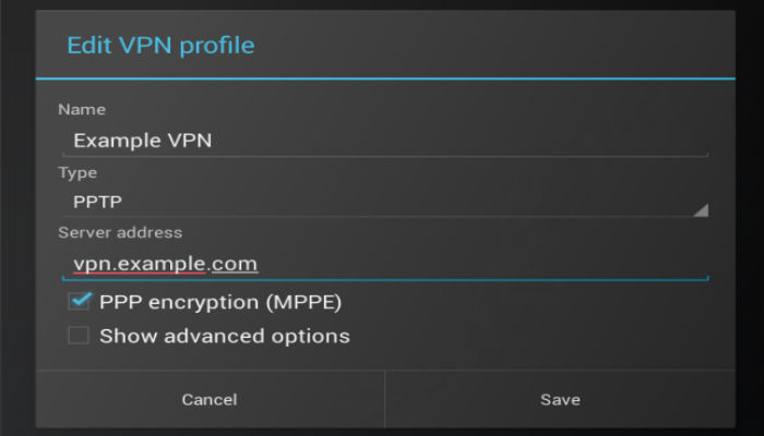 change VPN settings on android