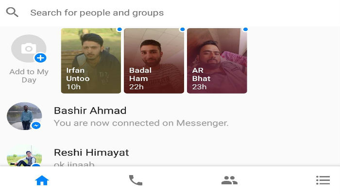 facebook messenger UI