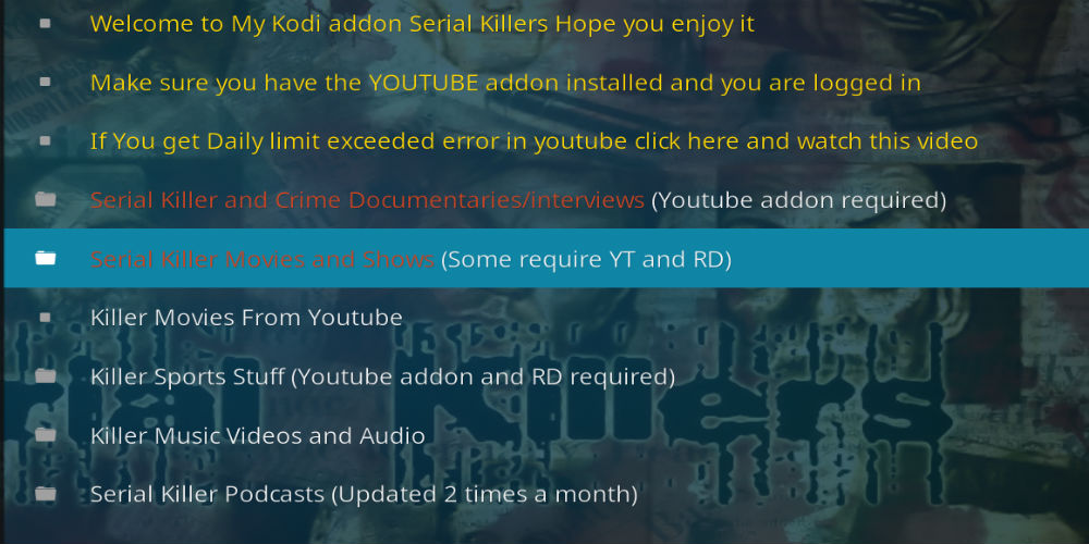 Serial Killers Lite Kodi Addon