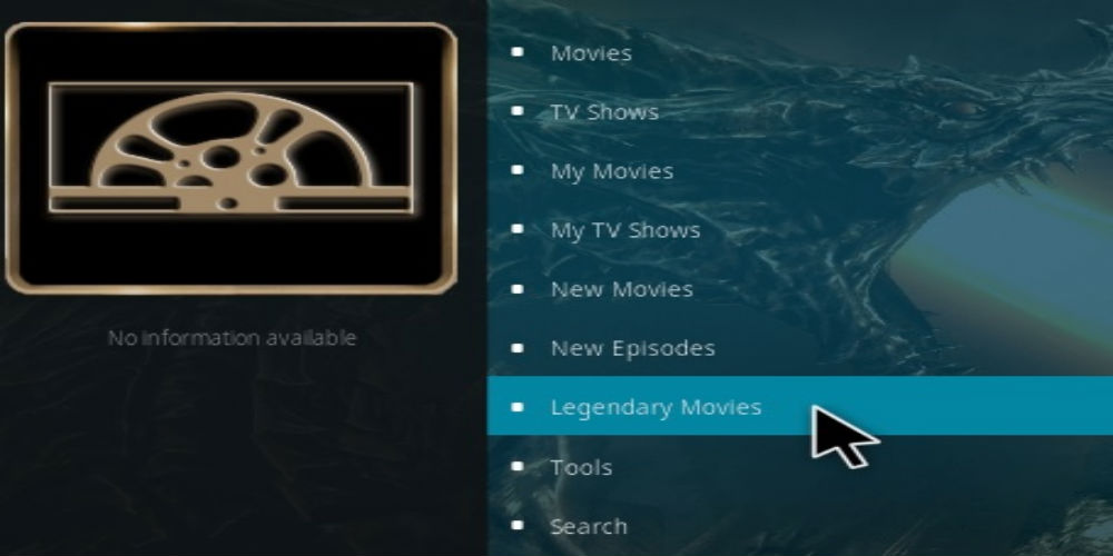 Legendary addon on Kodi