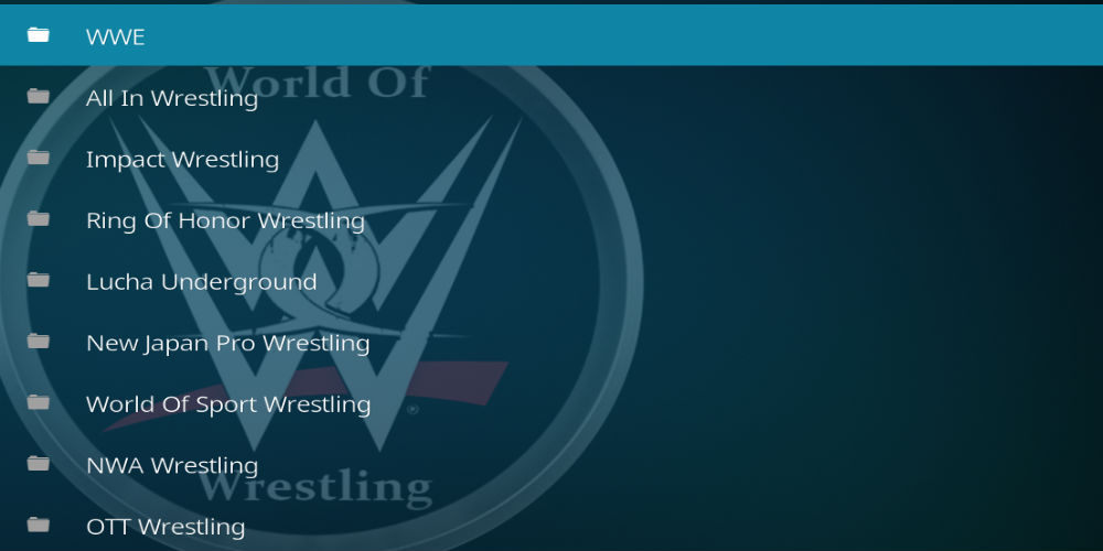 World Of Wrestling Kodi Addon