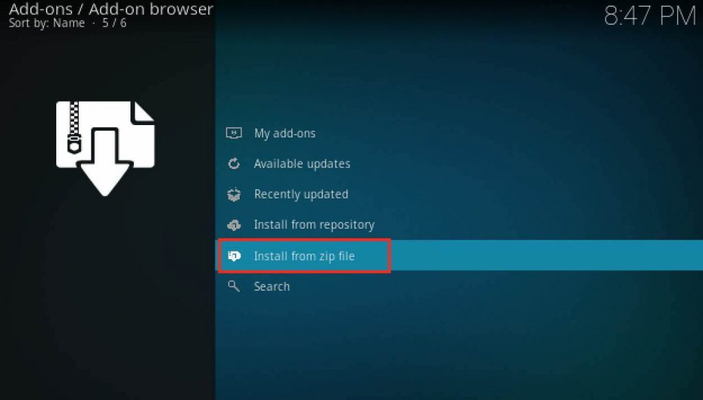 how to install zip file kodi